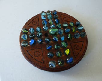 Mahogany Solitaire Board with Vintage Glass Marbles