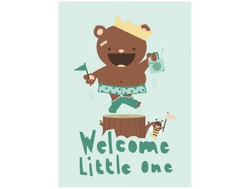 Babyshower card - Welcome little one!  - dancing happy bear - boy and girl babyshower card - eco friendly