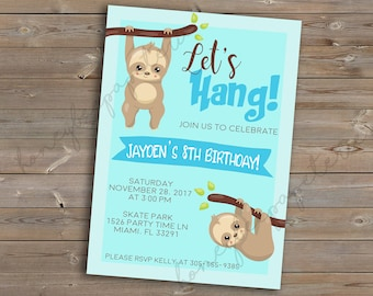 "Baby Sloth ""Let's Hang"" Birthday Invitation or Baby Shower Invitation, printable, customizable, digital file or printed invite"