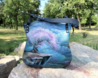Leather shoulder bag painted flowers purse leather hand-painted sacura handbag Oversized Tote Leather hobo bag Women's Leather gift for mom