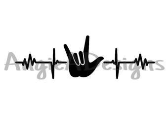 Heartbeat ASL I Love You Hand SVG