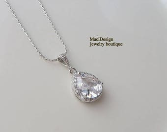 30%OFF Bridal Teardrop Cubic Zirconia, White Gold Necklace,Bridal Necklace Brides Wedding,Free US Shipping