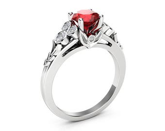 Natural Ruby Engagement Ring Unique Leaves 14K White Gold Ring 1 Ct. Ruby Engagement Ring