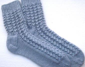 Hand knitted ladies socks with  socks yarn.Size EU39-40US -7,5-8