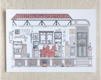 Sydney Bungalow featuring 10 Hidden Cats ~ A4 Art Print from Original Ink & Watercolour Piece