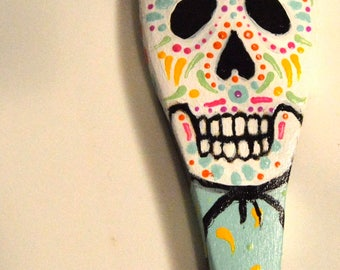Day of the Dead, skull, Halloween decoration, Calavera, Folk Art decor, primitive decor, recycled materials, Eclectic Wandering handmade