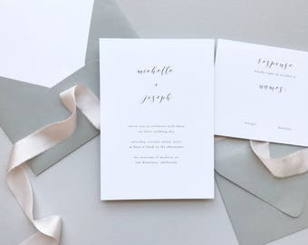 Delicate Minimalist Wedding Invitation Suite Sample / #1127