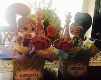 Shimmer and Shine -Centerpieces -birthday decorations -genies bottles -girls party