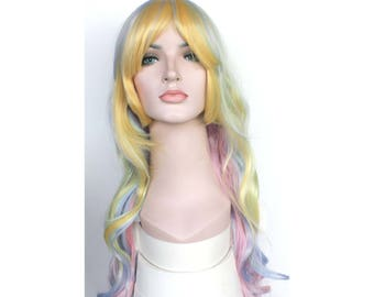 New Year's party wig. Christmas party hair. Christmas wig Sale. Super long multi-colored curly wig. ready to ship. New Year's Eve party wig.