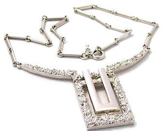 Vintage Crown Trifari Silver Tone Necklace - signed Trifari - large pendant - statement necklace - 1980s -90s