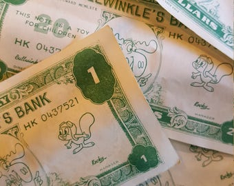 Vintage Bullwinkle Play Money