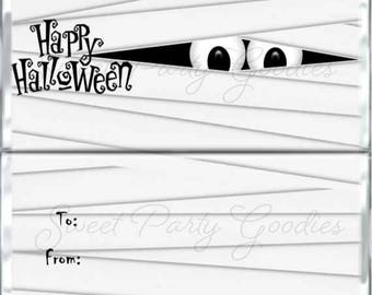 Halloween Candy Bar Wrappers - Mummy Halloween Party Favors - Halloween Party - Mummy Chocolate Bar Wrap - PDF or Printed