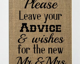 Please Leave Your Advice & Wishes for the new Mr. and Mrs. - Rustic Vintage/Wedding Decor/Love House Sign