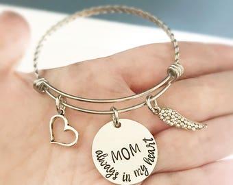 Memorial bracelet - Remembrance jewelry - Mom bracelet - Hand stamped memorial bracelet - Stainless steel bracelet