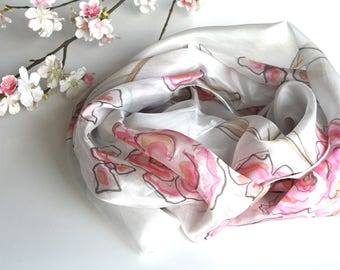 Hand painted silk scarf, Unique handmade scarves, Silk Scarves, Womens scarves , Wraps, Shawls, Floral scarves,  Bridal scarves Ladies scarf