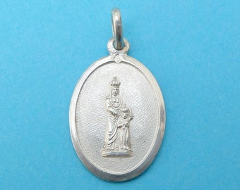 French, Antique Religious Sterling Pendant. Saint Anne and Virgin Mary. Silver Medal. 170617 4 A