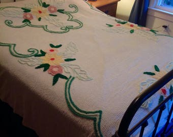 Vintage chenille bedspread.....white with green, yellow and pink....puffy flowers.....queen or full