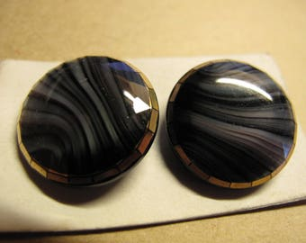 2 swirled black & grey1920's glass buttons with gold faceted  edge  23 mm diameter 050617/16