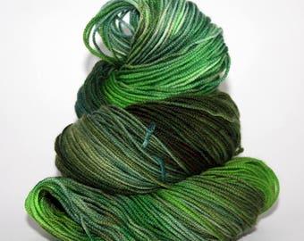 Hand-Painted DK Superwash Merino Wool Yarn - Green Grasses Growing, It's Springtime!
