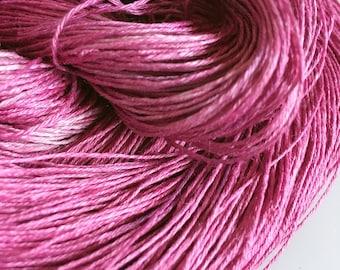 Hand Dyed linen yarn lace weight Purple Raspberry 50g 290m