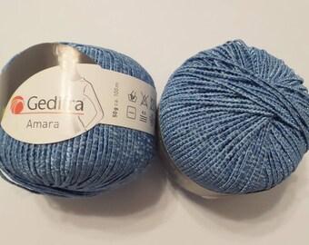 Gedifra AMARA Denim Blue Silky Cotton Rayon Worsted Yan Perfect for Warm Weather Knits, Vegan too!