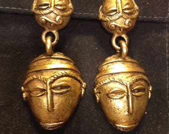 Vintage Jay Feinberg Strongwater Tribal Mask Clip Earrings
