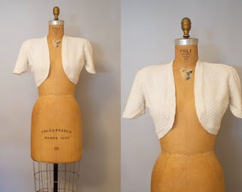 1950s White Cropped Bolero Jacket