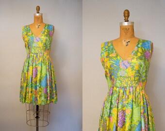 50s Silk Floral Summer Dress / 1950s Dress / 50s Floral Dress