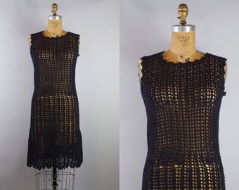 Vintage 1960s Black Knitted Drop Waist Dress
