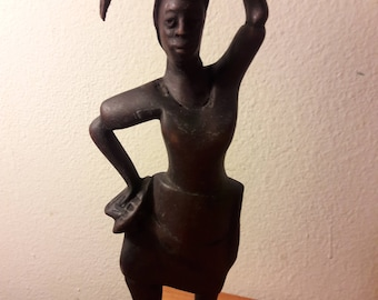 African wood woman statue, home decor.