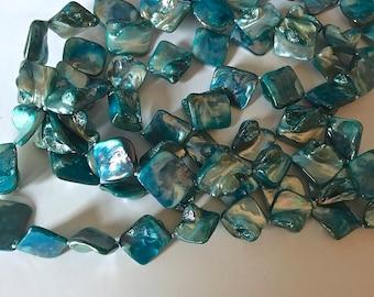 Turquoise iridescent shell beads 58 inch strand bead supply jewelry supply