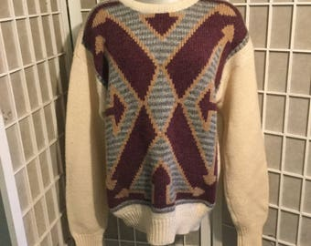 Vintage Men's Thick Scottish Wool Sweater XL or Oversized