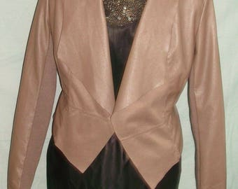 funky stylish,Fawn soft Faux leather jacket size 12 -cropped/diag cut.