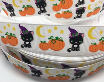 3 yards Halloween Sweet Cat and pumpkins grosgrain ribbon
