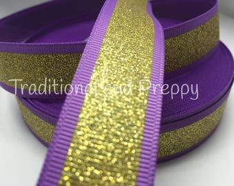 "3 yards 7/8"" Cheer gold glitter on purple grosgrain ribbon"