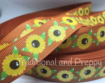 "3 yards 7/8"" Glitter Sunflower Sunflowers on ginger grosgrain ribbon"