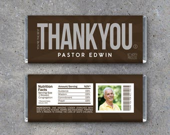 THANK YOU Pastor Appreciation Candy Bar Wrappers – Printable download personalized w/ name & photo–Pastor Gift Idea–Religious Christian Gift