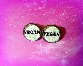 Vegan Vegetarian Glass Dome Stud Earrings Nickel & Lead Free