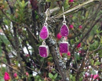 Cobalto Calcite Druzy Earrings Sterling Silver