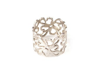 Silver Filigree Ring, Wide Band Ring, Boho Ring, Womens Ring, Silver Band Ring, Silver Wide Ring, Gift For Her, Silver Lace Ring