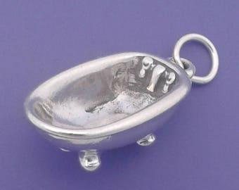 CLAWFOOT TUB Charm .925 Sterling Silver, Claw Foot Bath Tub Pendant - sc789