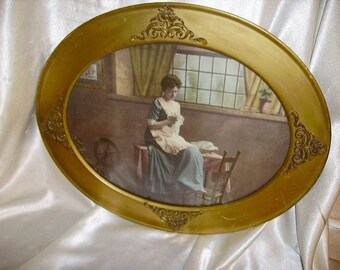 Antique Victorian Lady Color Litho in French Ormolu and Gold Wood Antique Oval Frame