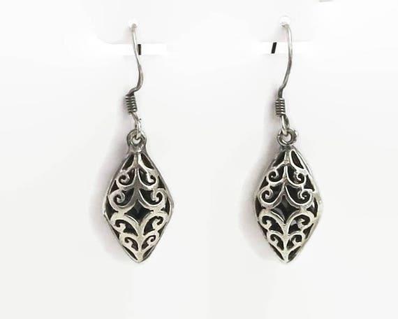 Sterling silver filigree hook earrings, hollow diamond shapes with pretty filigree open metal work pattern, dangle earrings, stamped 925