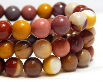 6-7mm Mookaite, Mookaite Gemstone Beads, Mulitcolor Beads, Round Gemstones, Mulitcolor Gemstones, Earthy Beads, Colorful Beads,  B-36B