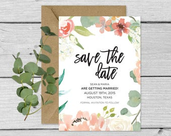 Customizable Downloadable Wedding Invitation Save The Date Vintage Florals Custom // The Georgiana Suite