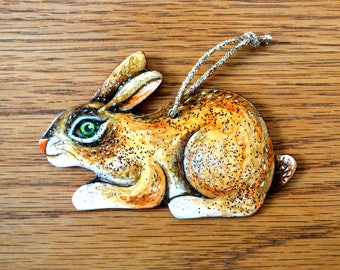 Christmas Rabbit Ornament - Hand Crafted and Painted