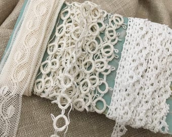 Vintage 1920s Lace Trim - 3 Assorted 2 yard pieces - inset, border tatting -OSB