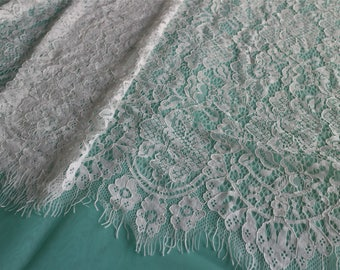 """Eyelash Lace Fabric ,off  White Chantilly Lace fabric  for wedding 59"""" width 3 yards"""