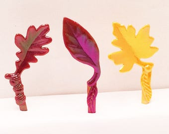 12 Fall Leaves Cupcake Picks Fall Autumn Toppers Party Favors Oak Maple Leafs