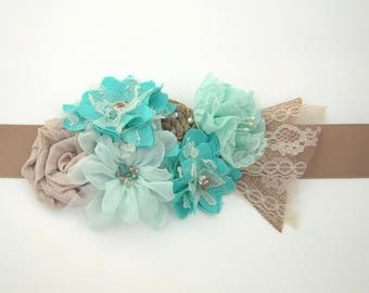 Turquoise Rustic Bridal Sash, Turquoise and Aqua Flower Sash with Ivory Lace, Beads, and Pearls, Country Wedding Dress Sash Belt - RB0185
